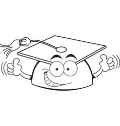 Cartoon graduation cap giving thumbs up vector image