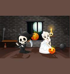 Cartoon grim reaper and skull bride vector