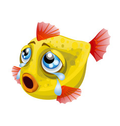 cartoon weeping yellow fish isolated on a white vector image