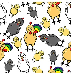 Chicken family pattern vector