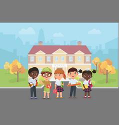 Children students stand in front school vector