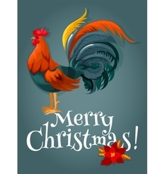 Christmas and New Year card with fire red rooster vector