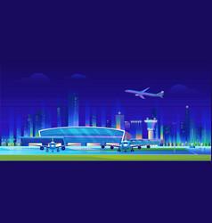 city airport at night cartoon vector image