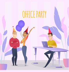 colleagues group in party hats celebrate in office vector image