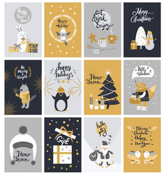 Collection of twelve colourful christmas pictures vector
