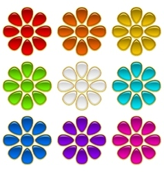 Colorful Buttons Set Flowers vector image