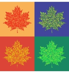 Colorful maple leaves isolated Halftone autumn vector image