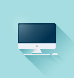 computer display with mouse and keyboard icon vector image
