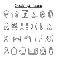 cooking icon set in thin line style vector image