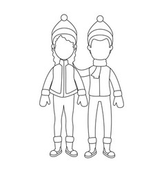 couple with winter clothes vector image