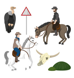 cowboys and desert elements vector image