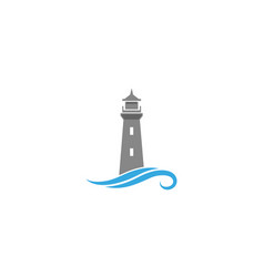 creative abstract lighthouse waves logo design vector image