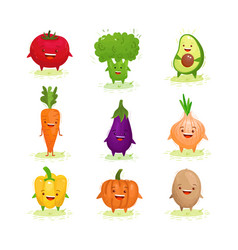 cute kawaii vegetables set vector image