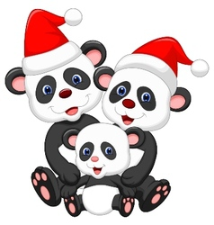 Cute panda family cartoon wearing red hat vector image