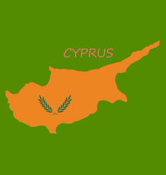 detailed of a map of cyprus with flag eps10 vector image
