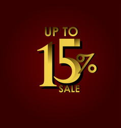 Discount sale label up to 15 red gold template vector