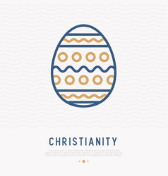Easter egg with ornament thin line icon vector
