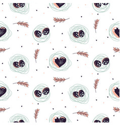 Easter seamless pattern with nest and hearts vector