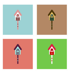 Flat icon design collection wooden pethouse vector