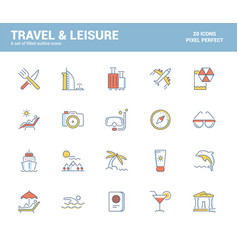flat line filled icons design-travel and leisure vector image