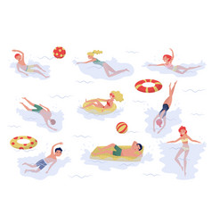 flat set of swimming people young boys and vector image