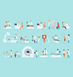 Flat set people on medical examination vector