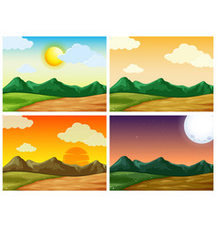 four countryside scenes at different time of day vector image