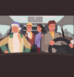 Friends traveling in car winter road trip vector