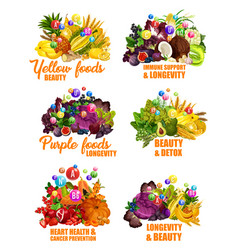fruits and vegetables color diet vitamins vector image