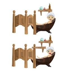 Funny cartoon girl and boy lies in bathtub vector
