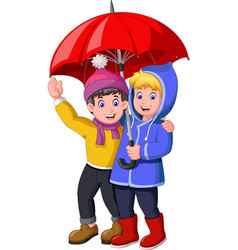 funny two boys under red umbrella in rainy day vector image