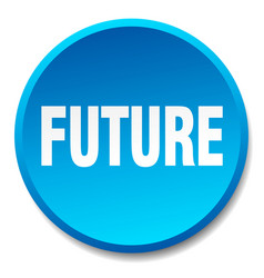 Future blue round flat isolated push button vector