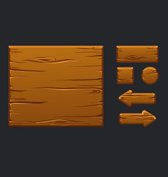 game ui kit template wooden menu of vector image