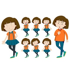 Girl with short hair in different actions vector