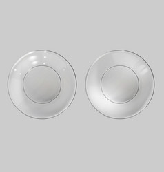 Glass plate realistic bowl glossy dish top view vector