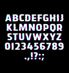 glitch type font glowing alphabet letters vector image
