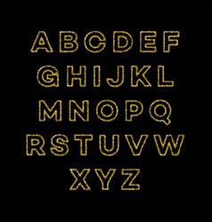 Golden glitter alphabet font set vector