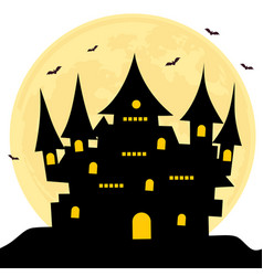 halloween castle bats full moon background vector image