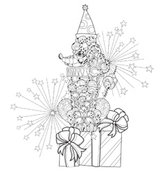 Hand drawn doodle outline poodle vector image