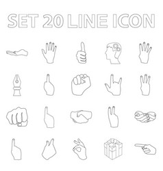 Hand gesture outline icons in set collection for vector