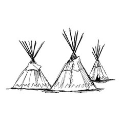 Hand sketch wigwams vector