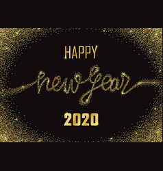 happy new year 2020 glitter and marble greeting vector image