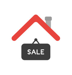 Icon concept of sale hanging sign under house roof vector