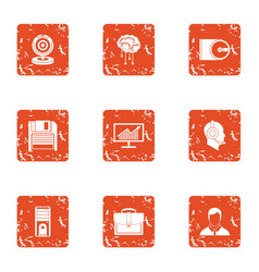 intelligence information icons set grunge style vector image