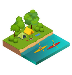 Isometric camping on the river bank tents vector