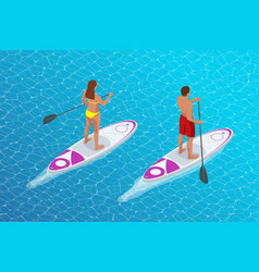 isometric young couple practicing stand up vector image