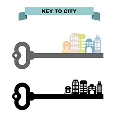 Key to sity Vintage key and city buildings Office vector