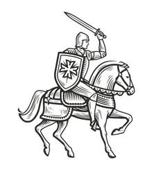 knight in armor on horseback medieval heraldry vector image