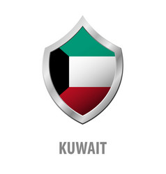 kuwait flag on metal shiny shield vector image