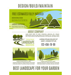landscape design and gardening banner template vector image vector image